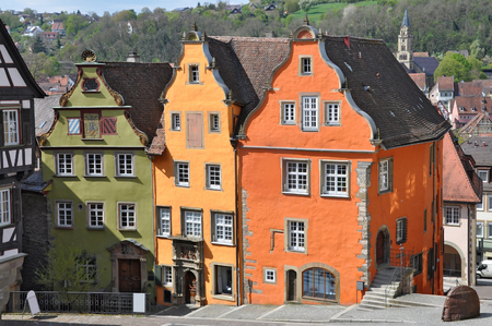 Three beautiful colorful old building on the market square of Schwabisch Hall, Baden-Wurttemberg, Germany. Stock Photo