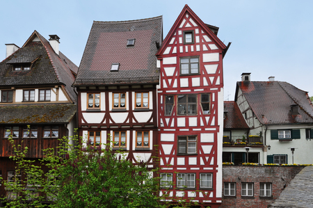 Ancient half-timbered houses in the fishermens quarter in Ulm, Baden-Wurttemberg, Germany. Stock Photo