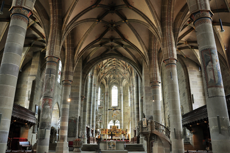 Interior of the Gothic church of St. Michael. Schwabisch Hall, Baden-Wurttemberg, Germany. Stock Photo