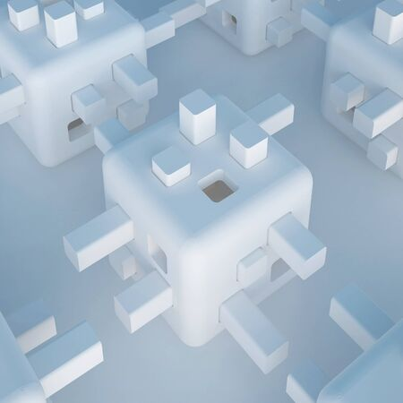 autonomic: 3d illustration. Abstract white non-existent forms, Futuristic background. Images, associations: cube, constructor, developing toy, robot head, modular flying autonomous home, cell. Render. Stock Photo