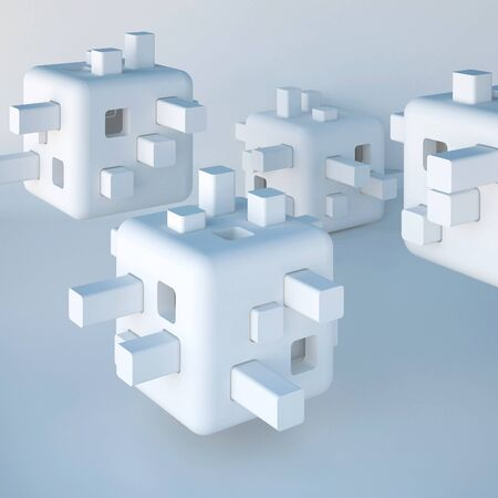 3d illustration. Abstract white non-existent forms, Futuristic background. Images, associations: cube, constructor, developing toy, robot head, modular flying autonomous home, cell. Render. Stock Photo