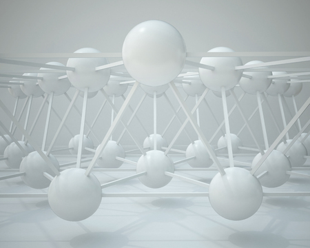 3d illustration. Abstract white three-dimensional composition, render. The structure of the balls and connecting rods. The image of the atoms, molecules, the hinge.