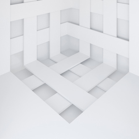 futuristic interior: 3d illustration. White abstract architectural background. Angle with intersecting stripes. Render. Stock Photo