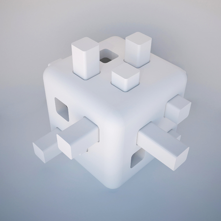 autonomic: 3d illustration. Abstract white non-existent form, futuristic background. Images, associations: cube, constructor, developing toy, robot head, modular flying autonomous house, cell. Render.