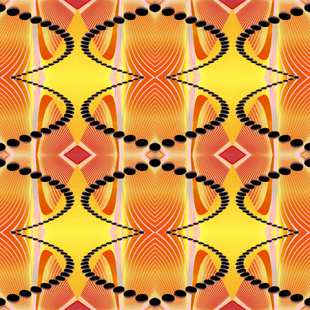 Seamless geometric texture to the fabric, textile, background. Orange, yellow and red pattern with white lines and black beads based on the African style. Grainy grunge backdrop. Stock Photo