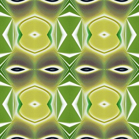 Seamless geometric texture to the fabric, textile, background. Green and yellow pattern with white lines based on the African style. Grainy grunge backdrop. Stylized face with the eyes.
