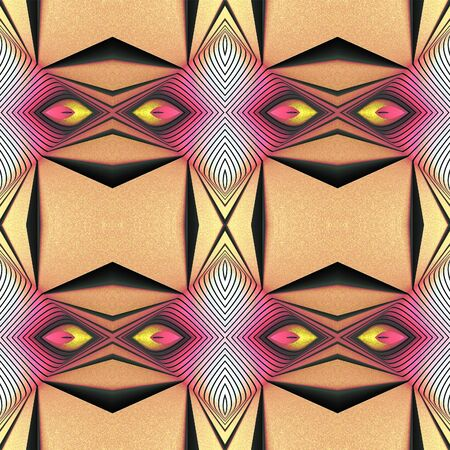 Seamless geometric texture to the fabric, textile, background. Color pattern with black lines based on a combination of African style, boho, hipster. Stylized eyes. Grainy grunge backdrop. Stock Photo