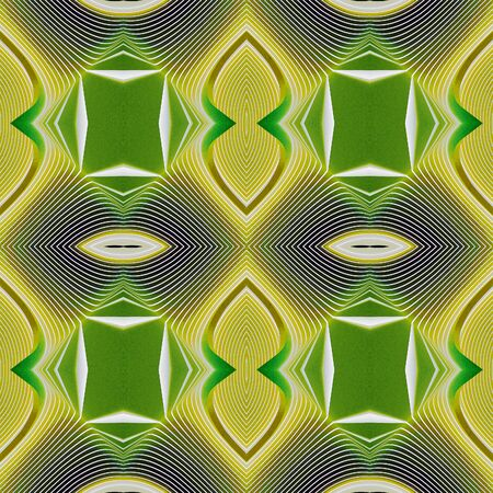 Seamless geometric texture to the fabric, textile, background. Green and yellow pattern with white lines based on the African style. Grainy grunge backdrop.