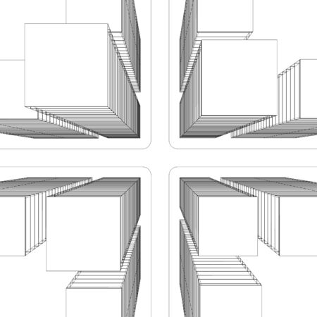 3d illustration. Top view of the non-existent modern intersection with skyscrapers. Line black and white graphics.