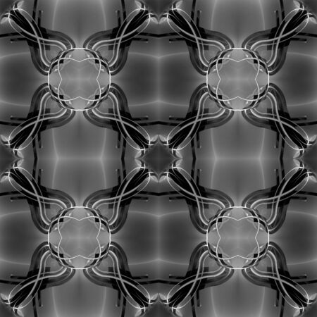 metal grid: Vintage black seamless 3d texture of crossing the thin white fine lines curves. Decorative gradient pattern.