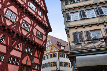 Old narrow street of Esslingen with colorful half-timbered houses. Baden-Wurttemberg, Germany.