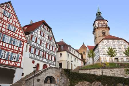 Ancient half-timbered houses and tower in Backnang, Baden-Wurttemberg, Germany. Lizenzfreie Bilder