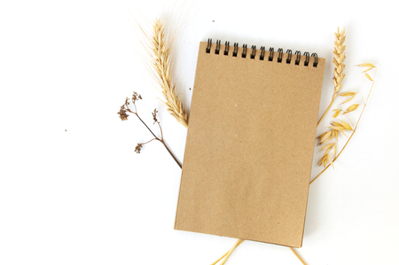 Mock up of craft paper notepad on white background with dry earls of rye, wheat and oats. Top view.