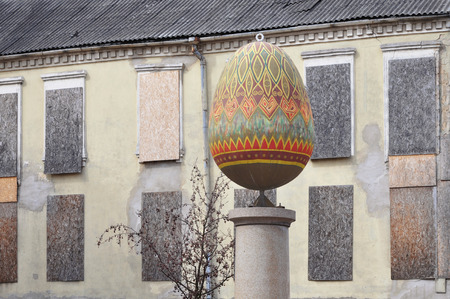 Vilnius, Lithuania - April 11, 2017: Sculpture of the painted Easter egg on the square in Vilnius.