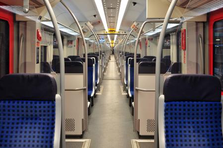 Stuttgart, Germany - April 24, 2017: Interior of an empty metro car in Stuttgart.