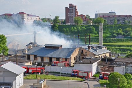 Grodno, Belarus - May 21, 2017: Fire in the old building of the brewery in Grodno.