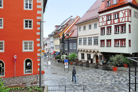 Ravensburg, Baden-Wuerttemberg, Germany - April 25, 2017: The old paved picturesque Ravensburg street with colored half-timbered houses. Editorial