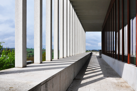 Marbach, Baden-Wurttemberg, Germany - April 19, 2017: Museum of Contemporary Literature in Marbach on Neckar. Architect is David Chipperfield. Geometric composition of columns and shadows.