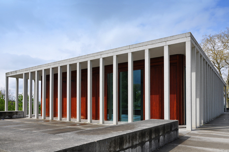 Marbach, Baden-Wurttemberg, Germany - April 19, 2017: Museum of Contemporary Literature in Marbach on Neckar. Architect is David Chipperfield.