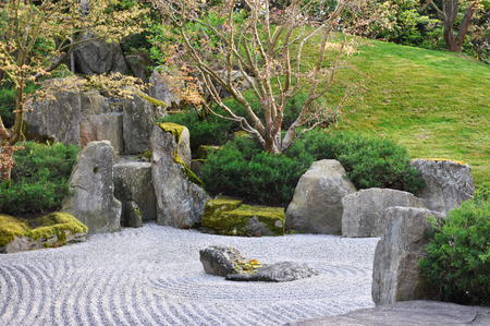 Berlin, Germany - April 13, 2017: Japanese garden of stones in the Gardens of the world in Berlin. Editorial