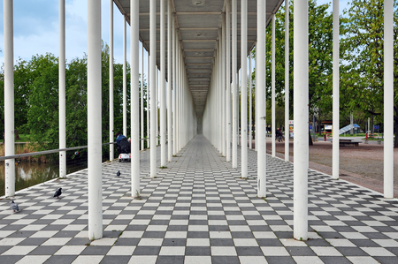 Boblingen, Baden-Wurttemberg, Germany - April 23, 2017: Wandelhalle Portal in Boblingen. Modern structure of white columns in perspective. Editorial