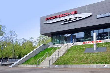 Stuttgart, Germany - April 17, 2017: The modern building of the Porsche Arena in Stuttgart  in Neckarpark. Editorial