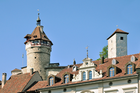 Tower and facade of the Munot fortress in Schaffhausen on a sunny day, Switzerland.