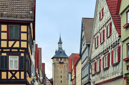 Old street of Marbach (Neckar) with half-timbered houses and tower, Baden-Wurttemberg, Germany. Lizenzfreie Bilder