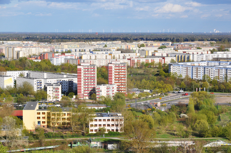 Aerial view of the modern residential district of Marzahn in Berlin. Highrise buildings in perspective. Lizenzfreie Bilder