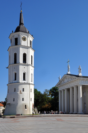 St. Stanislaus Cathedral on a sunny day. Vilnius, Lithuania. Vertical view.