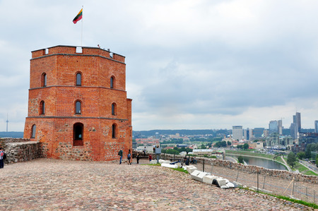 The ancient Gedimin tower against the downtown of Vilnius.