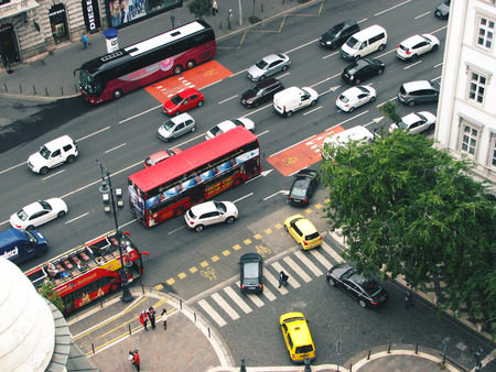 Budapest, Hungary. Top view of street with cars and tourists buses.