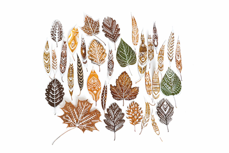 A lot of autumn dry leaves with white hand-drawn ethnic patterns. Isolated. Top view. Stock Photo
