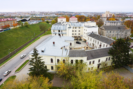 Panoramic view of Grodno, Belarus. The old central buildings in perspective in autumn. Standard-Bild