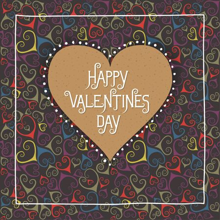 Concept of square greeting card for Valentines Day, 14 February. Cardboard brown heart with festive inscription. Black seamless pattern with colorful flourishes on background. Illustration
