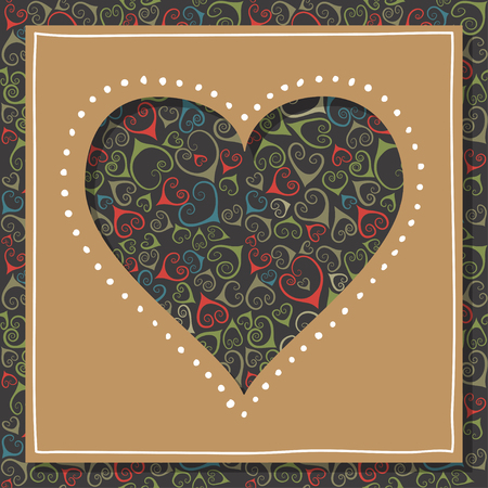 Concept of greeting card for Valentines Day, 14 February. Square brown cardboard with the hole in shape of heart.
