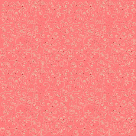 Seamless pattern of thin line hand drawn stylized hearts with flourishes and black dots on pink background. Concept for Valentines Day on 14 February or wedding.