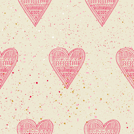 Hand drawn pink hearts on a white grunge background with splashes and dots for Valentines Day and wedding. Vector illustration.