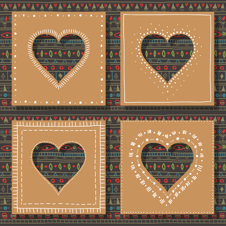 Square brown cardboard with a heart-shaped hole with dotted outline. Seamless color ethnic pattern for back background.