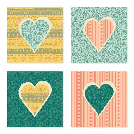 Vector set of vintage templates on Valentines Day 14 February. Hearts of torn patterned festive paper. Illustration