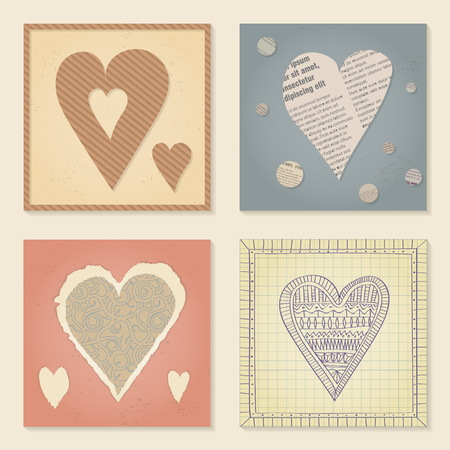 Vector set of templates on Valentines Day 14 February. Square paper cards with heart cut out of cardboard, newsprint, torn decorative paper and school notebooks. Pastel colors.