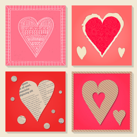 Vector set of templates on Valentines Day 14 February. Square paper cards with heart cut out of cardboard, newsprint, torn decorative paper. Pink and red colors.