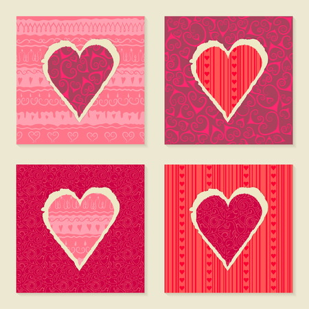 Vector set of vintage templates for Valentines Day 14 February. Hearts of torn patterned festive paper. Seamless ornament in the background. Pink and red colors. Illustration
