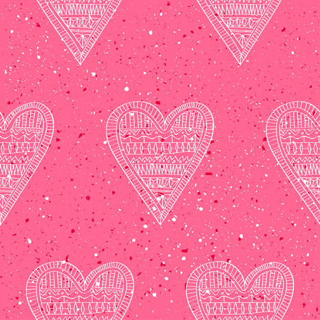 Seamless pattern of hand drawn white hearts on a pink grunge background with splashes and dots. Concept for Valentines Day and wedding.