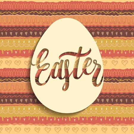 Square greeting card concept. White paper egg with handwritten lettering Easter inside. Seamless colorful pattern on background.