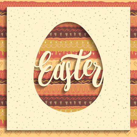 Greeting card concept. Square paper with cut out egg and handwritten lettering Easter. Seamless colorful pattern on background.