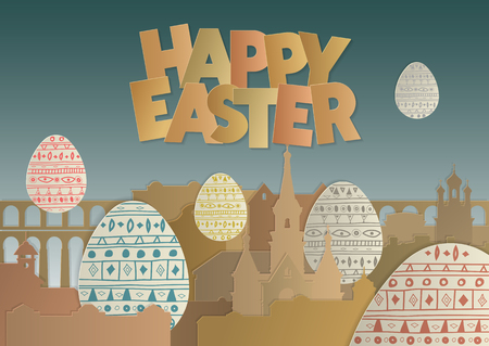 Panorama of cardboard. Cut out inscription Happy Easter. Concept for greeting card, web template, poster, background. Illustration