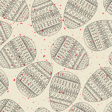 Seamless vector pattern of black hand drawn eggs on grunge white background. Concept for Easter.