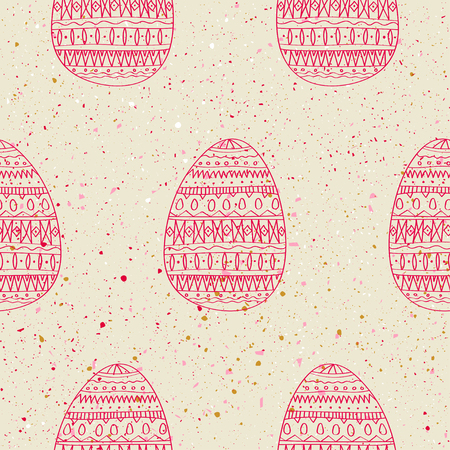Seamless vector pattern of red hand drawn eggs on grunge background. Concept for Easter.
