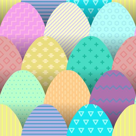 Seamless pattern of colorful flat eggs with hatching placed at each other.